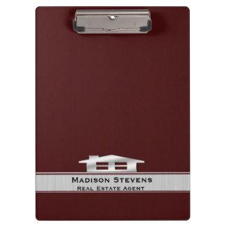 Real Estate Maroon Silver Clipboard