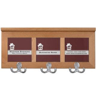 Real Estate Maroon Silver Coat Rack