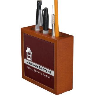 Real Estate Maroon Silver Desk Organizer Pencil/Pen Holder