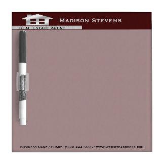 Real Estate Maroon Silver Dry Erase Board