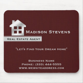 Real Estate Maroon Silver Mouse Pad