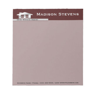 Real Estate Maroon Silver Notepad