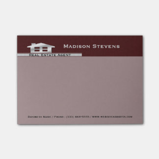 Real Estate Maroon Silver Post-it® Notes