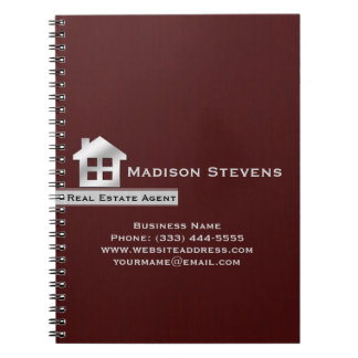 Real Estate Maroon Silver Spiral Notebook