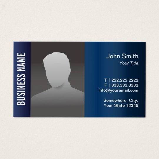 Real Estate Professional Photo Modern Blue Metal Business Card