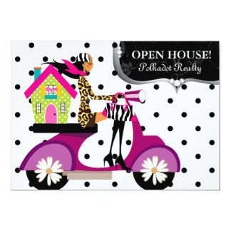Real Estate Realtor Scooter Girl Dots Open House Card