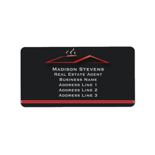 Real Estate Red Rooftop Address Labels
