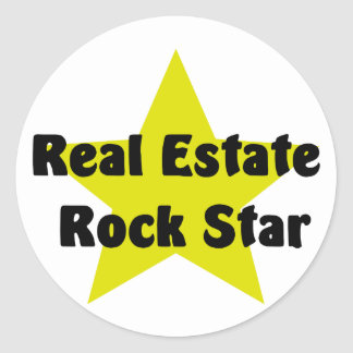 Real Estate Rock Star Round Sticker