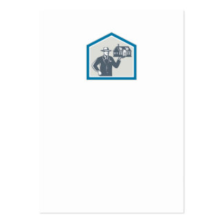 Real Estate Salesman Sell House Retro Business Cards