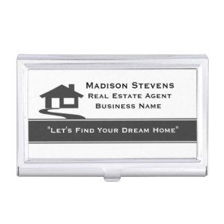 Real Estate White Gray Stripe Business Card Holder