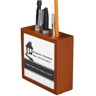 Real Estate White Gray Stripe Desk Organizer Desk Organiser
