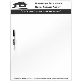 Real Estate White Gray Stripe Dry Erase Board