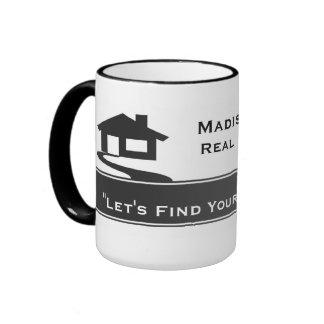 Real Estate White Gray Stripe Mugs