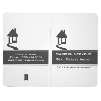 Real Estate White Gray Stripe Pocket Journal