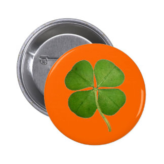 Real Four Leaf Clover 6 Cm Round Badge