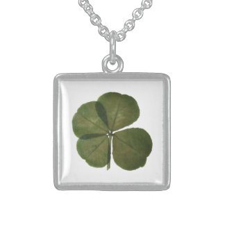 Real four leaves clover St patrick - Get Lucky - Sterling Silver Necklace
