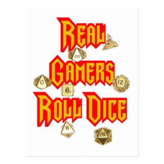 Real Gamers Roll Dice Post Cards