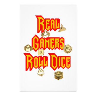 Real Gamers Roll Dice Stationery Design