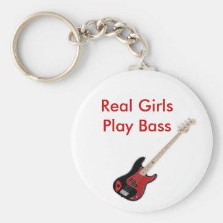 Real Girls Play Bass Key Chain