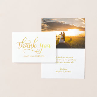 REAL Gold Foil THANK YOU Wedding   with Photo Foil Card