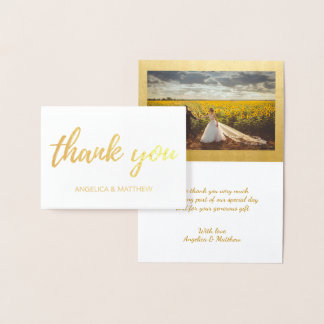 REAL Gold Foil THANK YOU Wedding | with Photo Foil Card