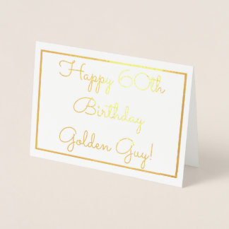 Real Gold Metallic Foil Ink 60th Birthday Invite