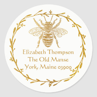 Real Gold Metallic Foil Ink Wreath and Bee Address Classic Round Sticker