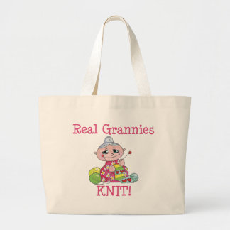 Real Grannies KNIT! Large Tote Bag
