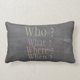 Real Green Chalk Who What Where When Chalkboard Lumbar Pillow