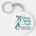 Real Heroes Become Angels Ovarian Cancer Basic Round Button Key Ring
