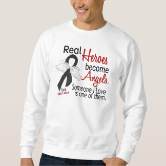 Real Heroes Become Angels Skin Cancer Pullover Sweatshirts