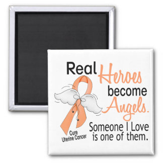 Real Heroes Become Angels Uterine Cancer Square Magnet