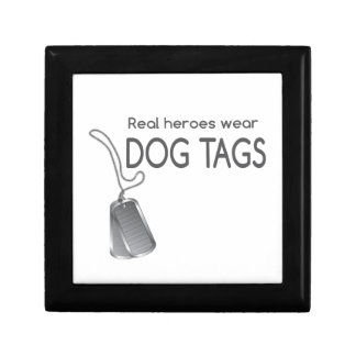 Real heroes wear dog tags small square gift box