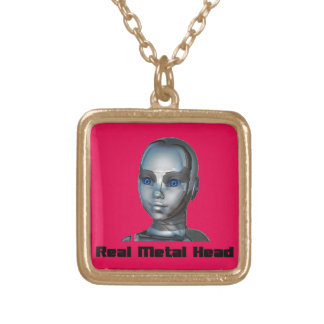 Real Hot Metal Head Square Pendant Necklace
