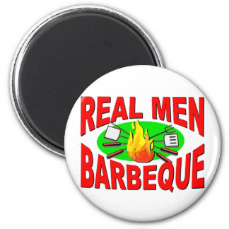 Real Men Barbeque. Funny Design for The BBQ King. 6 Cm Round Magnet