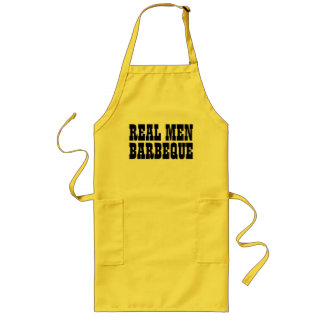 Real Men Barbeque | yellow black BBQ apron for men