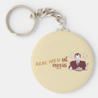 Real Men Eat Veggies Basic Round Button Key Ring