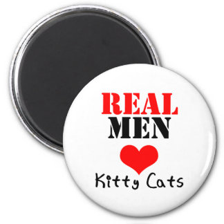 Real Men Heart (Love) Kitty Cats 6 Cm Round Magnet