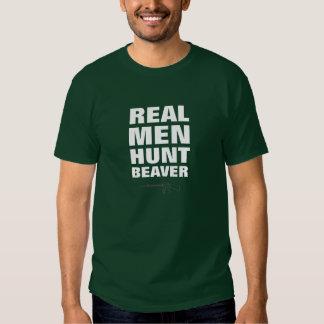 Real Men Hunt Beaver Funny T-Shirt