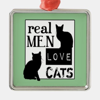 Real Men Love Cats (available in all colours) Silver-Colored Square Decoration