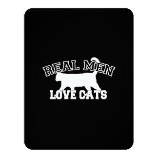 Real Men Love Cats Graphic Design on Black Decor 11 Cm X 14 Cm Invitation Card