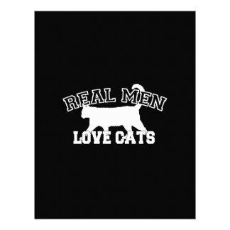 Real Men Love Cats Graphic Design on Black Decor 21.5 Cm X 28 Cm Flyer