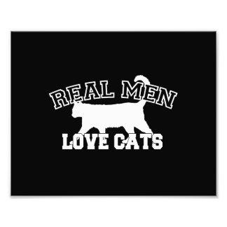 Real Men Love Cats Graphic Design on Black Decor Photo Art