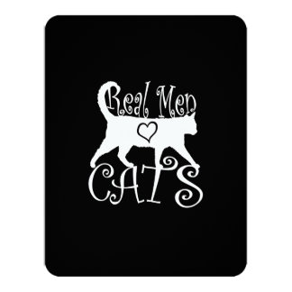 Real Men Love Cats in Style 11 Cm X 14 Cm Invitation Card