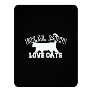 Real Men Love Cats 11 Cm X 14 Cm Invitation Card