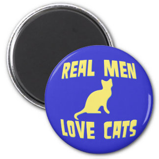 Real Men Love Cats 6 Cm Round Magnet