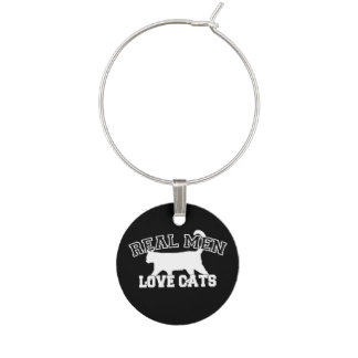 Real Men Love Cats Silhouette Wine Charm