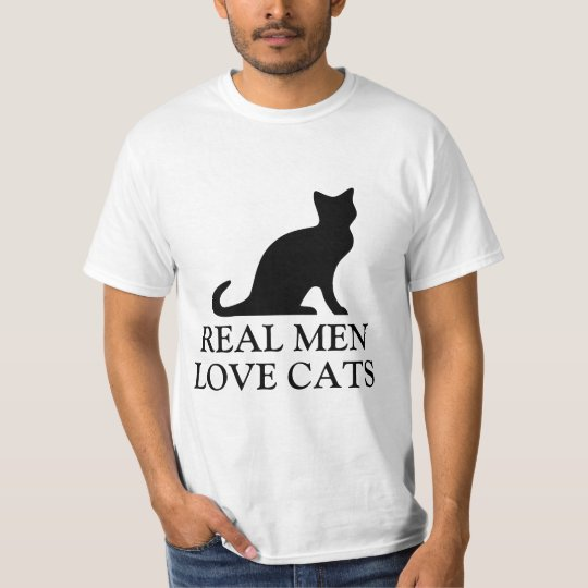 Real men love cats t shirt | Black
