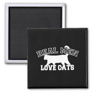 Real Men Love Cats White Silhouette Square Magnet