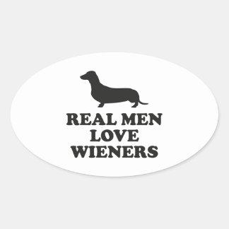 Real Men Love Wieners Oval Sticker